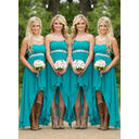 A-Line/Princess Chiffon Bridesmaid Dresses Ruffle Sweetheart Sleeveless Asymmetrical (007211569)