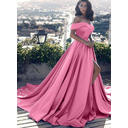 Satin Sleeveless A-Line/Princess Prom Dresses Off-the-Shoulder Ruffle Court Train (018148400)
