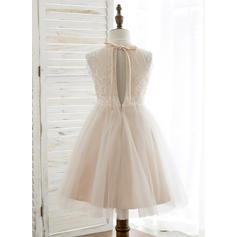 Forme Princesse Longueur genou Robes à Fleurs pour Filles - Tulle/Dentelle Sans manches Dos nu avec Trou noir (010164725)