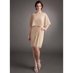 Sheath/Column Chiffon Sleeveless Scoop Neck Knee-Length Zipper Up Mother of the Bride Dresses