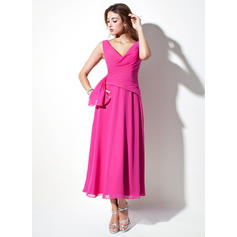 A-Line/Princess Chiffon Bridesmaid Dresses Ruffle V-neck Sleeveless Tea-Length