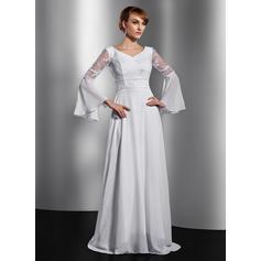 A-Line/Princess Chiffon Long Sleeves V-neck Chapel Train Zipper Up Mother of the Bride Dresses (008211359)