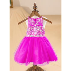 Scoop Neck A-Line/Princess Flower Girl Dresses Organza Beading/Back Hole Sleeveless Knee-length
