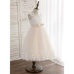 Forme Princesse Longueur genou Robes à Fleurs pour Filles - Tulle/Dentelle Sans manches Col rond avec À ruban(s) (010164612)