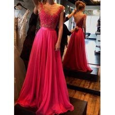 Chiffon Sleeveless A-Line/Princess Prom Dresses Scoop Neck Appliques Lace Floor-Length