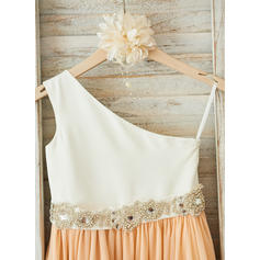 Satén/Tul Corte A/Princesa Fajas/Rhinestone Vestidos para niña de arras (010210144)