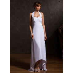 Empire Chiffon Sleeveless Halter Asymmetrical Zipper Up Mother of the Bride Dresses