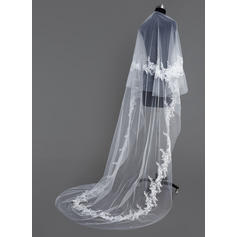 Cathedral Bridal Veils Tulle One-tier Drop Veil/Rectangular With Cut Edge Wedding Veils