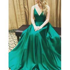 Floor-Length Spaghetti Straps Satin A-Line/Princess Prom Dresses (018210246)