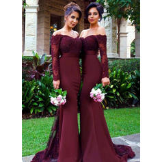 Trumpet/Mermaid Satin Bridesmaid Dresses Lace Off-the-Shoulder Long Sleeves Sweep Train