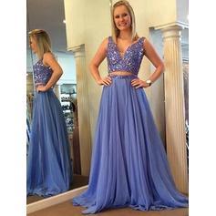 A-Line/Princess Chiffon Prom Dresses Beading V-neck Sleeveless Floor-Length