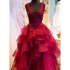 Tulle Sleeveless Ball-Gown Prom Dresses V-neck Appliques Lace Floor-Length