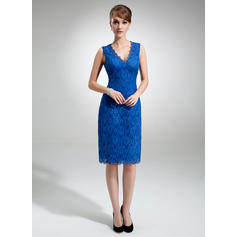 Sheath/Column Lace Sleeveless V-neck Knee-Length Zipper Up Mother of the Bride Dresses