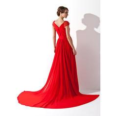 v neck knee length evening dresses