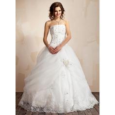 Satén Organdí Corte de baile Princesa Volantes Encaje Cuentas Flores Vestidos de novia (002021817)