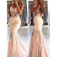 Flattering Tulle Evening Dresses Trumpet/Mermaid Sweep Train Sweetheart Sleeveless