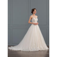 De Baile/Princesa Ilusão Cauda de sereia Tule Renda Vestido de noiva com Beading lantejoulas (002134799)