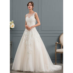 Ball-Gown/Princess Illusion Court Train Tulle Wedding Dress With Beading (002145317)