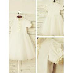 High Neck A-Line/Princess Flower Girl Dresses Satin/Tulle Lace Short Sleeves Tea-length (010212037)