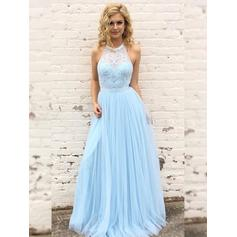 A-Line/Princess Tulle Prom Dresses Newest Floor-Length Scoop Neck Sleeveless (018219251)
