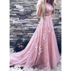 Sleeveless A-Line/Princess Prom Dresses Scoop Neck Appliques Lace Sweep Train