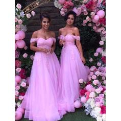 A-Line/Princess Tulle Lace Bridesmaid Dresses Off-the-Shoulder Sleeveless Floor-Length (007144972)