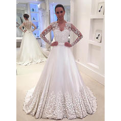 V-neck Court Train - A-Line/Princess Satin Wedding Dresses (002148243)