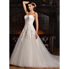 Tul Encaje Corte de baile Deslumbrante Vestidos de novia (002067219)