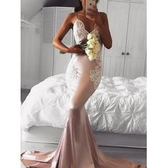 V-neck Trumpet/Mermaid Zipper Up Silk Like Satin Evening Dresses (017213641)