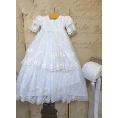 Dentelle Col rond Robes de baptême bébé fille avec 1/2 manches (2001216853)