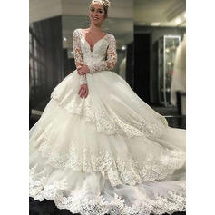 Ball-Gown Tulle Lace Long Sleeves Deep V Neck Royal Train Wedding Dresses (002146243)