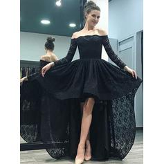 A-Line/Princess Off-the-Shoulder Asymmetrical Sweep Train Prom Dresses (018218332)