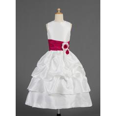 2018 New Scoop Neck A-Line/Princess Flower Girl Dresses Tea-length Taffeta Sleeveless (010014623)