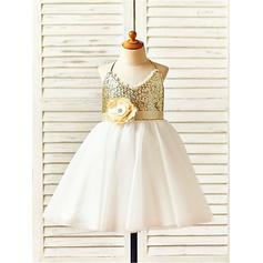 Cabestro Corte A/Princesa Vestidos para niña de arras Tul/Con lentejuelas Flores Sin mangas Hasta la rodilla (010211958)