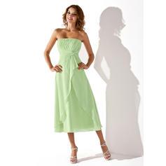 Empire Strapless Tea-Length Chiffon Bridesmaid Dress With Cascading Ruffles (007001923)