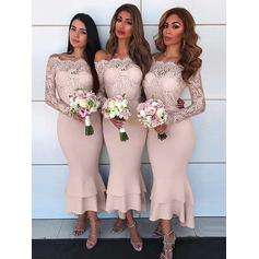 Sheath/Column Off-the-Shoulder Ankle-Length Stretch Crepe Bridesmaid Dresses With Lace