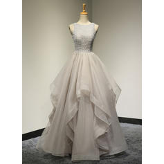 Elegant Tulle Evening Dresses A-Line/Princess Floor-Length Scoop Neck Sleeveless
