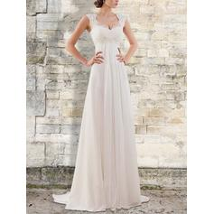Elegant Chiffon Wedding Dresses With Regular Straps Ruffle Lace