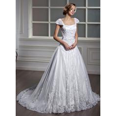 Elegant General Plus Square A-Line/Princess Tulle Wedding Dresses (002196871)