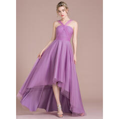 A-Line V-neck Asymmetrical Tulle Bridesmaid Dress (007104717)