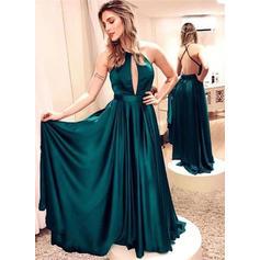 A-Line/Princess Floor-Length Evening Dresses Scoop Neck Satin Sleeveless