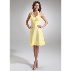 vestido de dama de honor de cuello halter