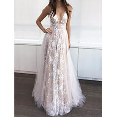 A-Line/Princess V-neck Tulle Sleeveless Sweep Train Appliques Lace Evening Dresses