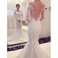 Trumpet/Mermaid Off-The-Shoulder Chapel Train Tulle Lace Wedding Dresses (002144848)