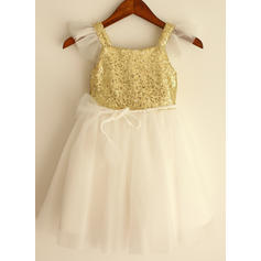Flattering Straps A-Line/Princess Flower Girl Dresses Knee-length Tulle/Sequined Short Sleeves (010196726)