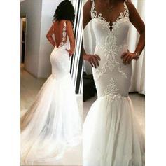 Fashion Scoop Trumpet/Mermaid Wedding Dresses Chapel Train Tulle Sleeveless