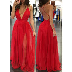 A-Line/Princess V-neck Tulle Sleeveless Floor-Length Evening Dresses