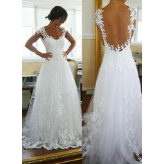 Sleeveless Cap Straps Tulle A-Line/Princess Wedding Dresses