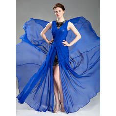 A-Line/Princess Scoop Neck Chiffon Sleeveless Court Train Ruffle Split Front Evening Dresses