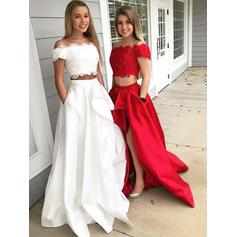 Sleeveless A-Line/Princess Prom Dresses Off-the-Shoulder Lace Sweep Train
